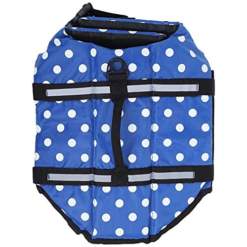 Jopwkuin Chaleco Salvavidas para Perros, Chaleco Salvavidas Reflectante Ajustable para Perros Chaleco de Colores Brillantes para navegar para Nadar y pasear en Bote(Dark Blue, XL)