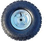 Frosal Luft Rad Bollerwagen Ø 260 mm 4.10/3.50-4 | Ersatzrad Reifen Sackkarre | Achse 16 mm | Luftrad Kugellager | Stahlfelge Silber