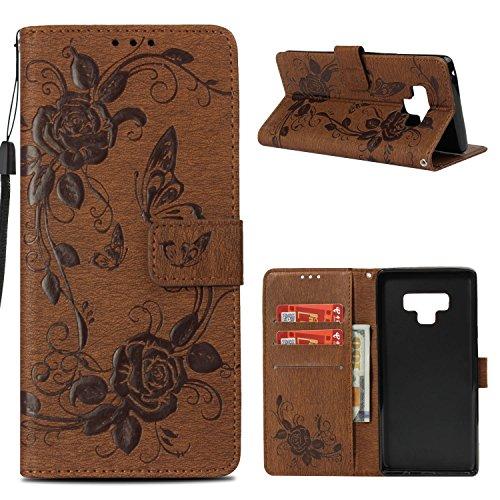 Samsung Note 9Móvil, roreikes Retro Monótono piel de piel sintética, marrón