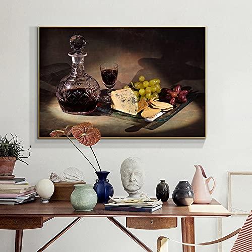 Lienzo de cocina, pintura de uva, vino y queso, Cuadros, carteles escandinavos e impresiones, arte de pared, cuadro de comida, sala de estar 30x45 CM (sin marco)