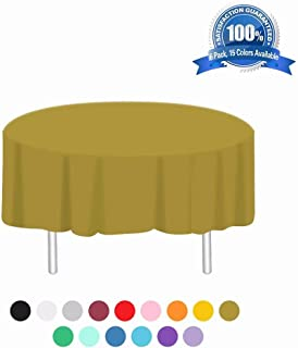 Anborfly Gold Plastic Tablecloth 6 Pack Disposable Round Table Cloths 84in. x 84in. Table Covers for Parties Birthdays Picnic Weddings Christmas Indoor or Outdoor Use