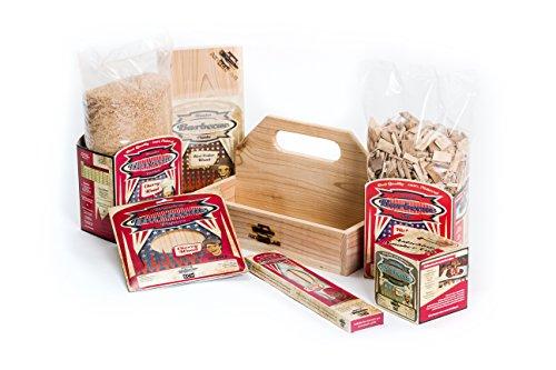 Axtschlag BBQ Starterbox | 6-teiliges Geschenk-Set zum Grillen, Smoken & Räuchern | 3 Räucherbretter Zedernholz, Räucherchips Hickory, Räucherbox, Grillpapier, Räuchermehl & Grillspieße | Anwendungstipps & Rezeptideen