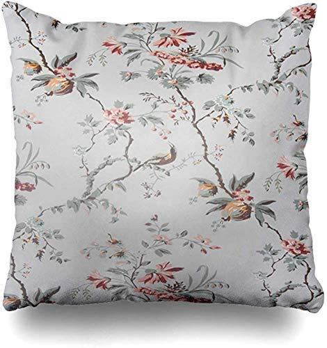 BONRI Throw Pillow Cover Faded Grey Flower Vintage Floral Pattern TH Century Old Orange Painting Kitsch Retro Antique Design Funda de cojín para Pollos Cuadrados caseros 18×18pulgada