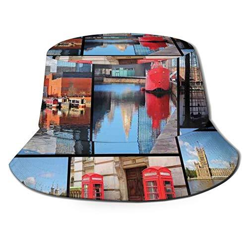 FULIYA Fisherman Senderismo Sombrero de ala ancha, Inglaterra City Red Teléfono Cabina Reloj Torre Puente Río Bandera Británica con Flores