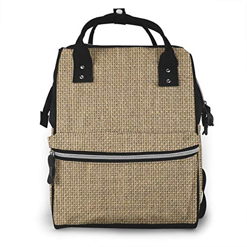 UUwant Sac à Dos à Couches pour Maman Large Capacity Diaper Backpack Travel Manager Baby Care Replacement Bag Nappy Bags Mummy Backpack,(Natural Woven Beige Burlap Sack Cloth