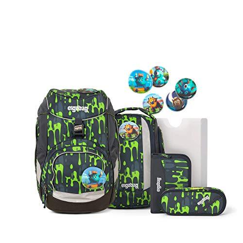 Ergobag Pack GlibbBär, ergonomischer Schulrucksack, Set 6-teilig, 20 Liter, 1.100 g, Slime