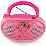 hPlay GC04 Portable CD Player Boombox with AM FM Stereo Radio Kids CD Player LCD Display, Aux-Port Supported AC or Battery Powered - Pastel Pink