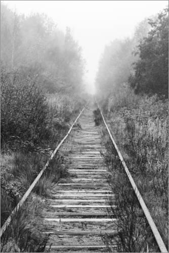 Poster 61 x 91 cm: Eisenbahn im nebligen Wald von Editors Choice - hochwertiger Kunstdruck, neues Kunstposter