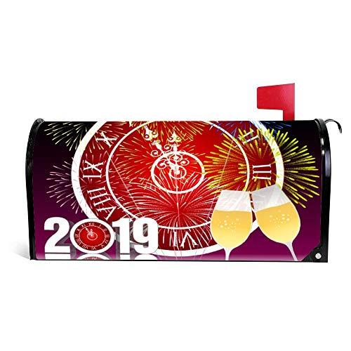 wendana Gelukkig Nieuwjaar 2019 Met Champagne Bril Mailbox Cover Magnetische Vinyl Thuis Tuin Decor Mailbox Wrap Post Letter Box Cover 18
