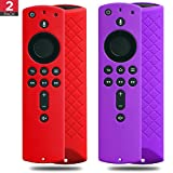 2 Pack Covers for All-New Alexa Voice Remote for Fire TV Stick 4K, Fire TV Stick (2nd Gen), Fire TV (3rd Gen) Shockproof Protective Silicone Case (Red+Purple)