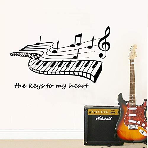 HNXDP Klavier Wandtattoo Schlüssel zu meinem Herzen Vinyl Aufkleber Art Decor Schlafzimmer Wandbild Schule Pädagogischer Künstler Musiker Home Decor 58cmx35cm
