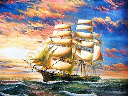 Alicest 5d DIY Diamond Painting Kits Full Diamond Art Kits Adults Large Size Cross Stitch Sailboat Mosaic Crystal Rhinestone Pictures Numbers for Home Decor 40X50Cm(16X20 Inch)