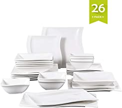 Malacasa 26 Pieces Dinnerware Set, Dinner Plates, Dishes Dinnerware Sets, Plates and Bowls Sets Square Soup Dessert Plates Ivory White Service for 6, Series Flora