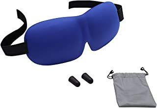Mosiso Sleep Mask with Ear Plugs with Travel Pouch, Super Soft Light Weight Sleep Goggles Blindfold Eye Cover with Adjustable Strap for Sleeping, Meditation, Naps and Night Eyeshade, Blue
