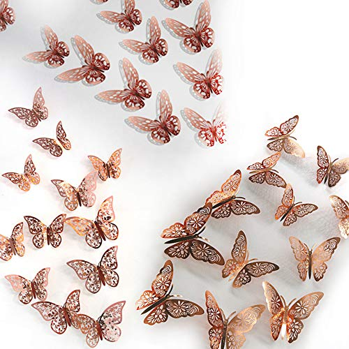 Cyleibe 36PCS Butterfly Wall Stickers, 3D Butterfly Wall Decals Stickers Rose Gold Decorations Paper for Party, Bedroom, Wedding Decors (3 Sizes)