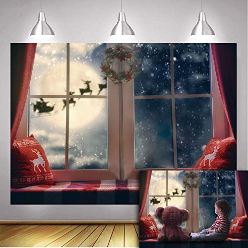 Daniu Christmas Backdrop Winter Snowflake Pillow Window Sill Moon Reindeer Santa Garland Wreath Xmas Holiday Family Party Kids Photography Background Decor Photo Booth
