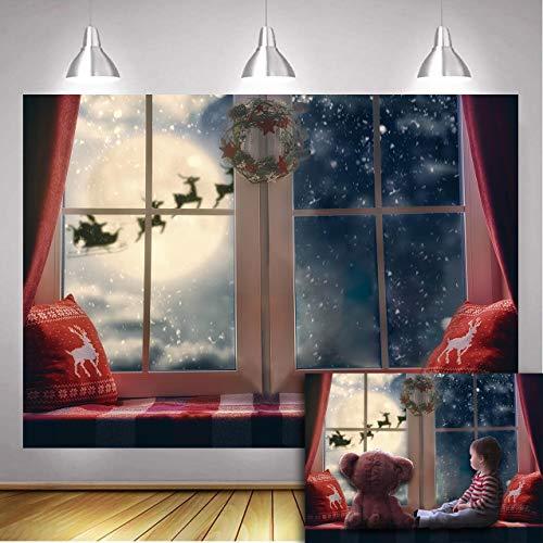Daniu Christmas Backdrop Winter Snowflake Pillow Window Sill Moon Reindeer Santa Garland Wreath Xmas Holiday Family Party Kids Photography Background Decor Photo Booth