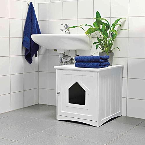 Trixie 40290 Katzenhaus für Katzentoilette, 49 × 51 × 51 cm, weiß