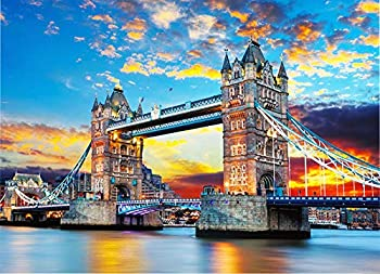 Puzzles 1000 Piece Jigsaw Puzzles for Adults Kids – Famous Scenery Tower Bridge Jigsaw Puzzle Educational Intellectual Decompressing Fun Family Games DIY Toys for Gift