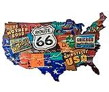 Muestra de la Lata Placa Ruta 66 Mapa América Los Ángeles Chicago Estilo Antiguo