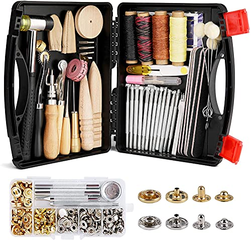 127 Pcs Leather Tools Kit, Leather Craft Kits, Leather Tools and Supplies...