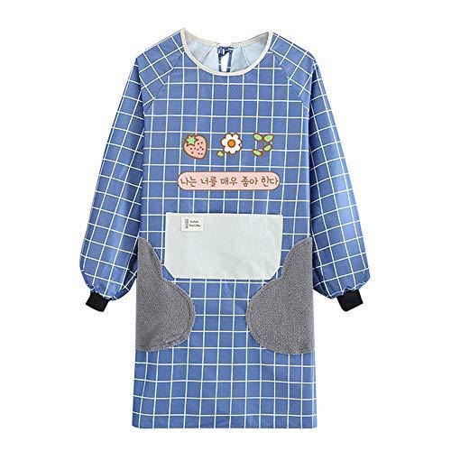 MJAHQ Delantal de cocina para cocinar, manga larga, resistente al agua, anti-aceite con bolsillos y delantales limpios para mujeres para delantales de trabajo de barbacoa-blue_105x95cm