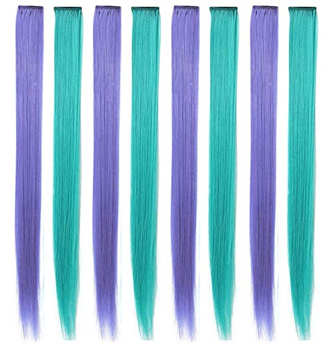 MQY COLOR 8PCS 22''Teal and Lavender Purple Clip in Colored Hair Extensions for Kids Hair Accessories Wig Pieces Party Highlights Straight Synthetic Hairpieces for Girls&Dolls