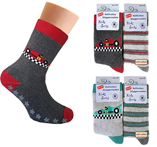 4 paia di calzini termici per ragazzi con ABS   Calze in spugna per bambini multicolore 23-26