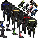 Completo da moto da uomo con tuta 2 pezzi giacca e pantaloni, guanti, stivali, con protezioni CE, impermeabile, per tutte le condizioni climatiche