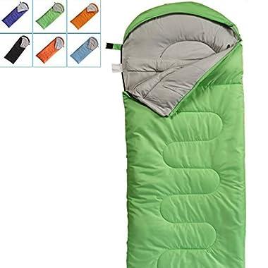 FARLAND Camping Sleeping Bag-EnvelopeMummy Outdoor Lightweight Portable Waterproof Perfect for 20 degree Traveling,Hiking Activities (Green/Right Zip, Rectangular)