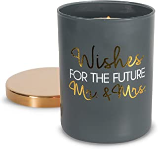 Pavilion Gift Company Wishes for The Future Mr & Mrs-7 oz Lead Free Wick in Glass Jar 7oz 100% Soy Wax Candle Scent: Citron de Vigne, Grey