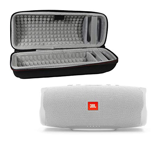 JBL Charge 4 Waterproof Wireless Bluetooth Speaker Bundle with Portable Hard Case - White