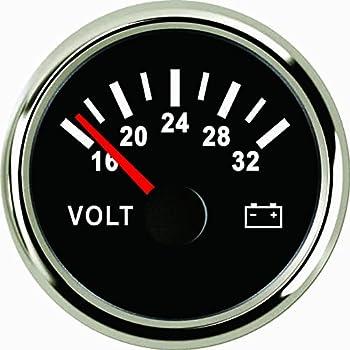 ELING Voltmeter Voltage Gauge 24V 16-32V 52mm 2 Backlight
