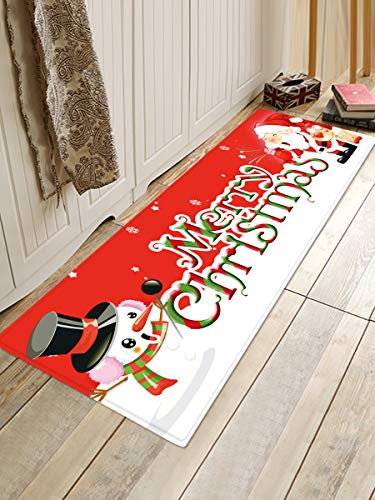 HJFGIRL Weihnachtsmatte Outdoor Teppich Fußmatte Santa Ornament Weihnachtsdekoration Für Home Deco Neujahrsgeschenk,D,60x180cm(24x71inch)
