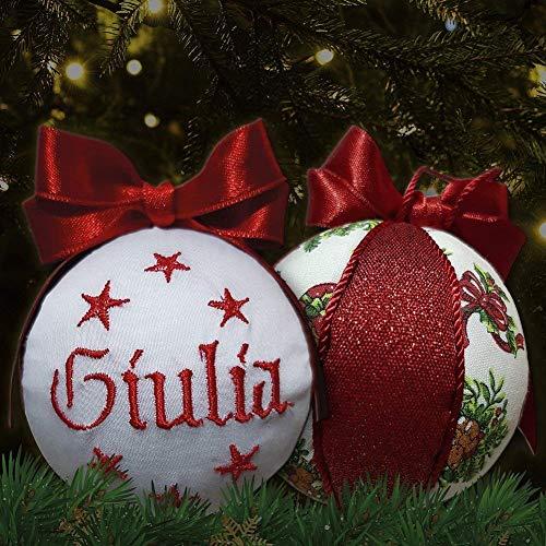 Crociedelizie, pallina di Natale personalizzata 8 cm nome ricamato decorazione natalizia personalizzabile in lurex rosso e bianco idea regalo