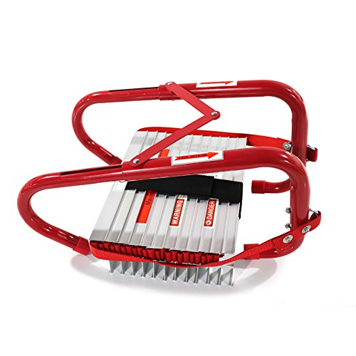 SHAREWIN Retractable 3 Story Fire Escape Ladder Portable Emergency Escape Ladder 25 Feet with Anti-Slip Rungs
