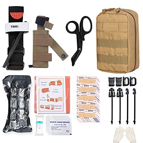 GRULLIN MOLLE IFAK Trauma Kit, botiquín de Primeros Auxilios táctico, EMT de Emergencia para Viajes en Coche, Aventura, Kayak, Campamento, Caza, torniquete, Vendaje, Kit de Control