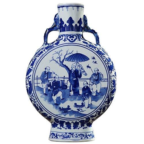 ZYG222 Groene vaas en oude Chinese personages patroon oor oor vaas Ming en Qing oude porselein