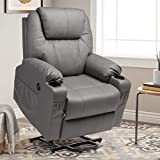 MAGIC UNION Power Lift Chair Wireless Remote Control Electric Recliner for Elderly Heated Vibration Massage PU Leather Living Room Chair Single Sofa with 2 Cup Holders and Side Pockets USB Charge Port
