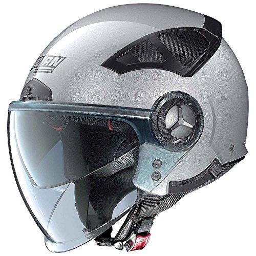 Nolan N33 Evo N-COM Classic-Casco de moto, color platino, Lexan