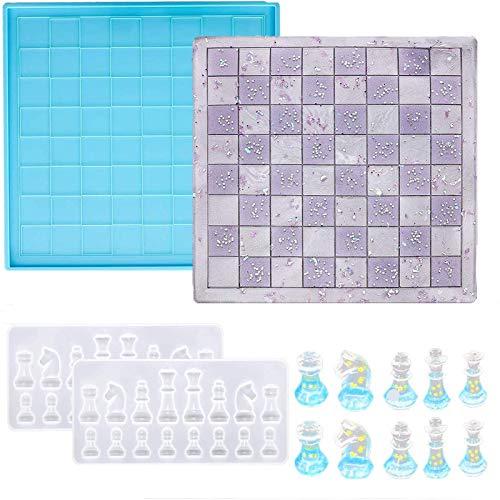 MIANRUII - Juego de moldes de resina de ajedrez (2 moldes de piezas de ajedrez 3D, 1 molde de moldeado epoxi de ajedrez para la fabricación...