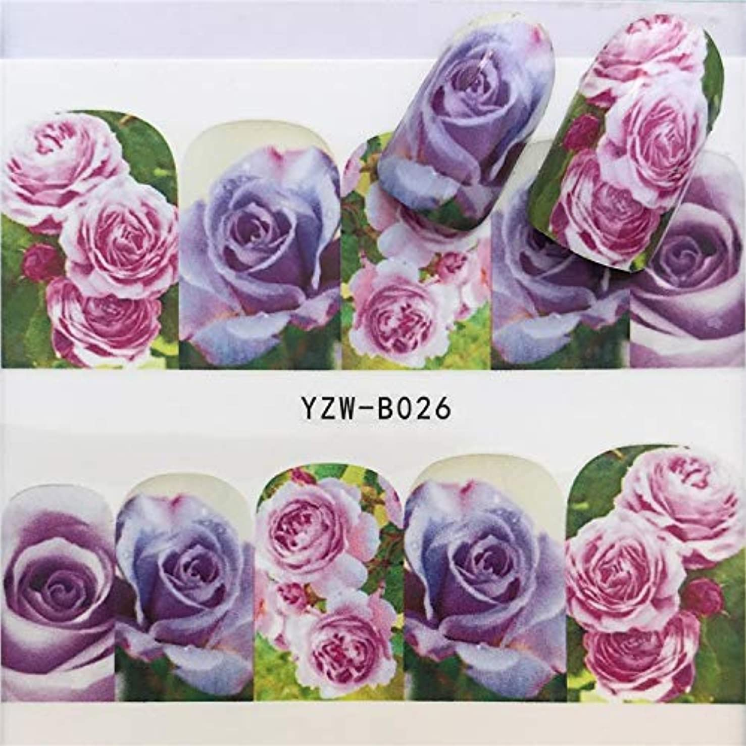 ビューティー&パーソナルケア 3個ネイルステッカーセットデカール水転写スライダーネイルアートデコレーション、色:YZWB026 ステッカー&デカール