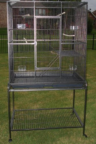 Mcage New Large Wrought Iron 4 Levels Ferret Chinchilla Sugar Glider Rats Cage with Removable Stand, 32-Inch by 19-Inch by 60-InchBlack Vein