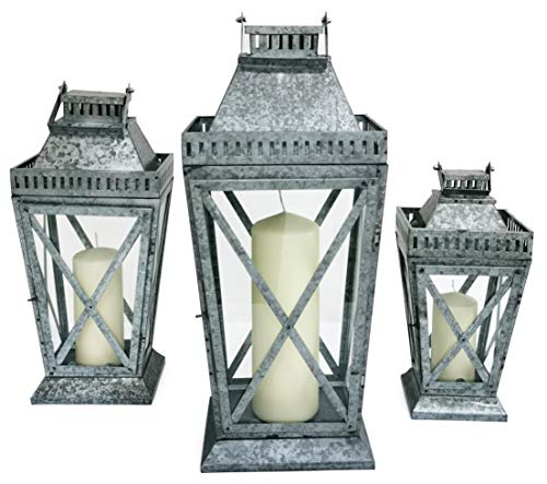 Metal & Glass Lantern Victorian Style Galvanized Pillar Candle Holder Perfect Hanging Centerpiece Ideal for Home Decor Weddings Christmas Events (Large 69cm H x 33cm W x 52cm)