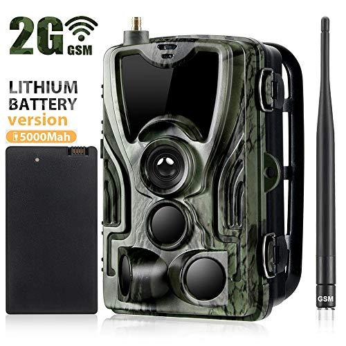 2G Wildkamera,HD 1080P 16MP Jagdkamera,GPRS GSM MMS SMS Beutekameras,IP66 Wasserdichte 36PCS LED Infrarot-Nachtsicht Bis Zu 20M/65Ft,Triggerzeit 0.3S,Mit 2,0LCD-Display Mit 5000 Mah Lithium-Akku