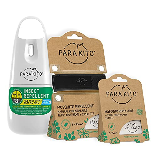 PARA'KITO DEET-Free Mosquito Repellent Bundle | 1 Spray + 1 Wristband Black with 4 Refills | Waterproof Bracelet w/ Natural Essential Oils