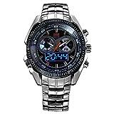 TVG Reloj de Cuarzo Luminoso Impermeable para Hombre con Doble Pantalla, Aspecto Casual, múltiples Funciones (Incl. Reloj Despertador) y dial Grande