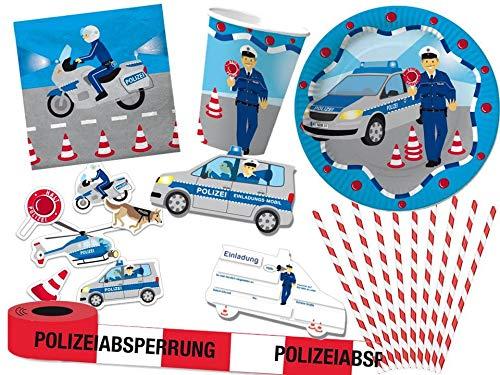 DHK 67-TLG. Partyset Polizei Mottoparty - für 8 Kinder - Partygeschirr und Zubehör
