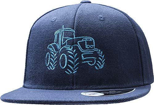 Kinder Cap: Traktor - Mütze für Kinder Geschenk für Junge-n & Mädchen - Trecker Bauernhof Baustelle - Kappe Baseball-Cap Basecap - Kinder-Geburtstag Schule Sport Sonnenschutz (One Size/Blau)
