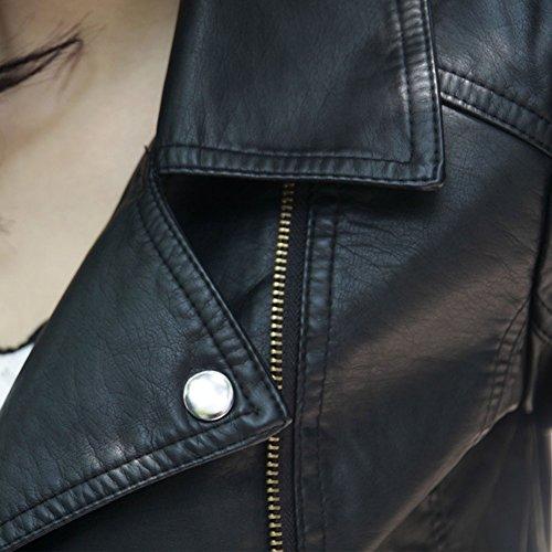 Giacca Donna Inverno Giacche in Pelle PU Vintage Moto Giubbino Giubbotto Corto Manica Lunga con Zip M Nero